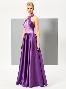 Fancy A-Line Halter Ruched Lace Floor-Length Evening Dress