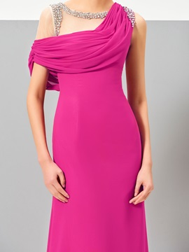 Unique A-Line Cowl Beading Draped Sweep Train Evening Dress