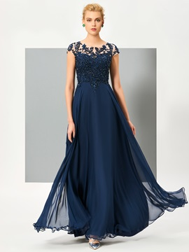 Elegant A-Line Scoop Cap Sleeves Appliques Button Lace Floor-Length Evening Dress