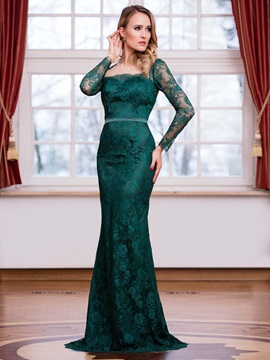 Fancy Square Sheath Long Sleeves Lace Sweep Train Evening Dress
