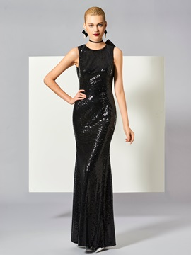Gorgeous Sheath Jewel Bowknot Button Sequins Long Evening Dress