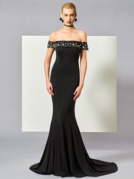 Elegant Off-the-Shoulder Mermaid Beading Court Train Evening Dress