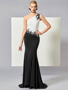 One-Shoulder Mermaid Appliques Beading Evening Dress