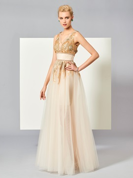 Attractive A-Line V-Neck Beading Sequins Floor-Length Evening Dress