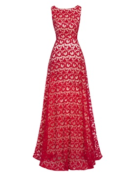 Scoop Sleeveless Lace Long Evening Dress
