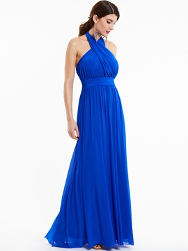 Halter Neck Backless A Line Floor-Length Evening Dress