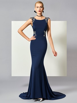 Exquisite Bateau Mermaid Appliques Beaded Court Train Evening Dress