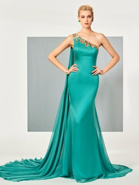 Delicate One-Shoulder Mermaid Appliques Sequins Watteau Train Evening Dress