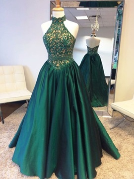 Vintage Halter A-Line Beaded Lace Floor-Length Prom Dress