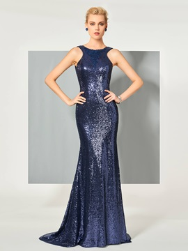 Elegant Scoop Trumpet Sequins Sweep Train Evening Dress