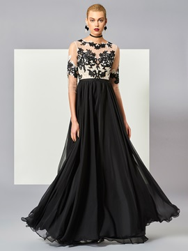 Fancy A-Line Scoop Black and White Appliques Button Floor-Length Evening Dress