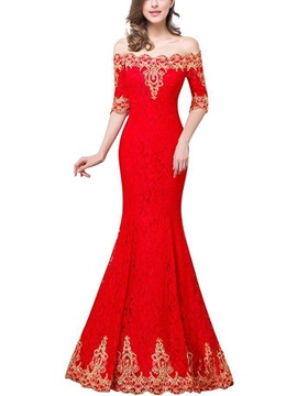 Vintage Mermaid Off-the-Shoulder Half Sleeves Appliques Lace Floor-Length Evening Dress