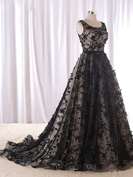 A-Line Scoop Beading Lace Evening Dress