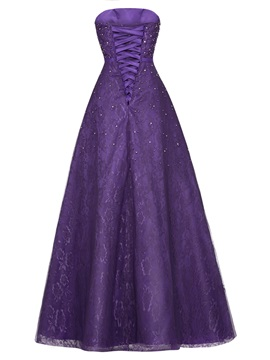 Cinsice Strapless Lace-Up Beaded Lace A Line Evening Dress