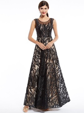 Unique Scoop Neck Zipper-Up Beaded Appliques A Line Evening Dress