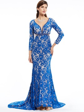 V Neck Zipper-Up Long Sleeves Lace Mermaid Evening Dress