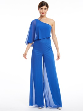 One Shoulder Beading Chiffon Long Jumpsuit