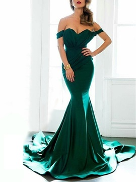 Attractive Off-the-Shoulder Mermaid Cap Sleeves Ruched Court Train Evening Dress