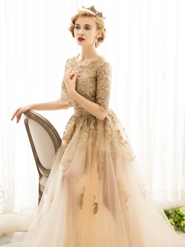Gorgeous Beading A-Line Half Sleeves Scoop Lace Court Train Evening Dress
