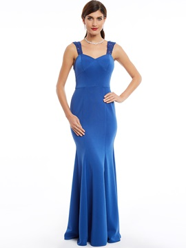 Simple Straps Zipper-Up Floor-Length Mermaid Evening Dress