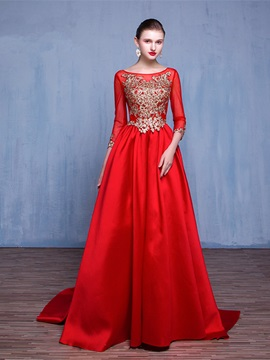Gorgeous 3/4 Length Sleeves A-Line Scoop Appliques Pearls Evening Dress