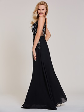 Stylish Scoop Neck Beaded Appliques A Line Evening Dress
