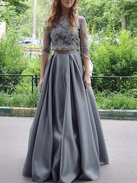 Stylish Two Pieces Jewel Neck Appliques A-Line Floor-Lenghth Evening Dress