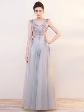 Elegant A-Line Lace Pearls Sashes Sleeveless Floor-Length Evening Dress