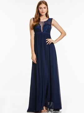 Scoop Neck A Line Lace Floor-Length Evening Dress