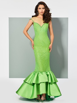 Unique Mermaid Cap Sleeves Lace Sequins Scoop Sweep Train Evening Dress