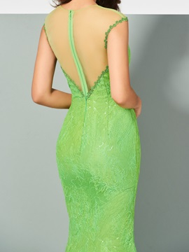 Mermaid Lace Sequins Scoop Evening Dress