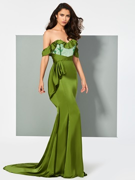 Off-the-Shoulder Appliques Ruffles Evening Dress