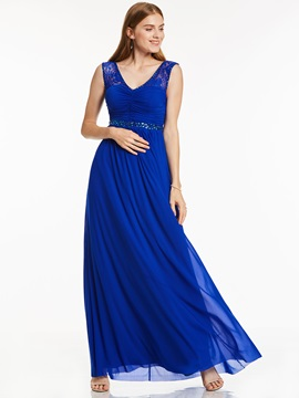 Charming Scoop Neck Beaded Lace A Line Evening Dress