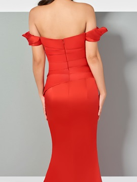 Mermaid Ruched Off-the-Shoulder Evening Dress