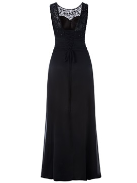 Appliques Beaded Pleats Scoop A Line Evening Dress