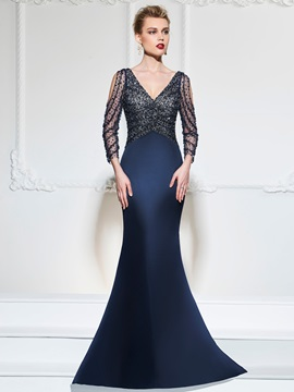 Gorgeous V-Neck Button Mermaid Sequins Beading Sweep Train Evening Dress