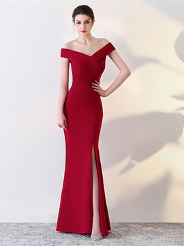 Elegant Split-Front Mermaid Off-the-Shoulder Floor-Length Evening Dress