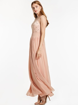 Scoop Neck Zipper-Up Beaded A Line Evening Dress