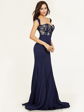 Straps Zipper-Up Lace Mermaid Evening Dress