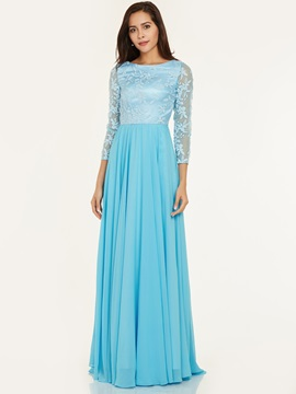 Scoop Neck Lace A Line Evening Dress