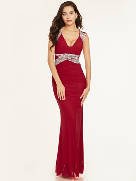 V Neck -Up Beaded Pleats Sheath Evening Dress