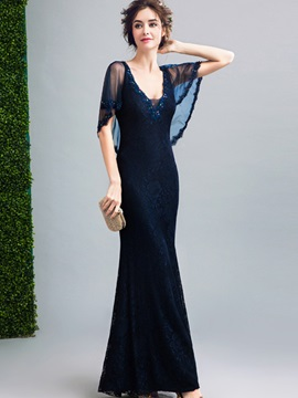 Unique Square Neck A-Line Lace Floor-Length Evening Dress