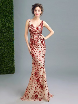 V-Neck Trumpet Sequins Sweep Train Evening Dress