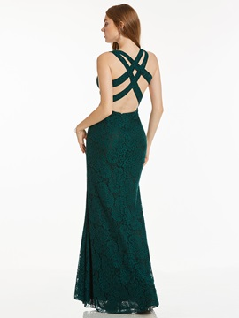 Chic Sheath Scoop Lace Criss-Cross Straps Floor-Length Evening Dress