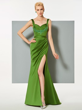 Elegant Spaghetti Straps Appliques Split-Front Sheath Evening Dress