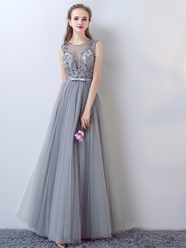 Attractive A-Line Appliques Bowknot Pearls Sashes Jewel Floor-Length Evening Dress