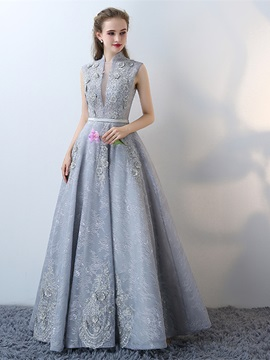 Modern A-Line High Neck Lace Cap Sleeves Lace Flowers Floor-Length Evening Dress