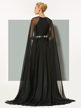 A-Line Beaded Split-Front Scoop Evening Dress