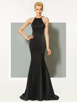 Simple Mermaid Sheath Scoop Bowknot Sweep Train Evening Dress