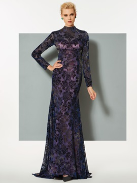 Vintage Mermaid Long Sleeves High Neck Lace Sweep Train Evening Dress